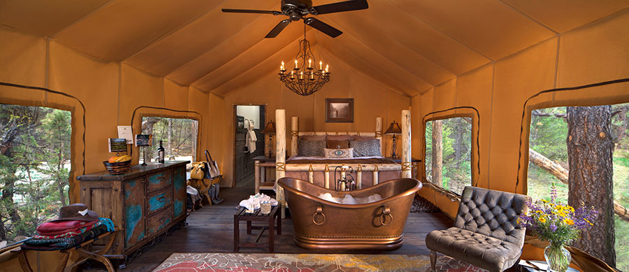 glamping with bath tub