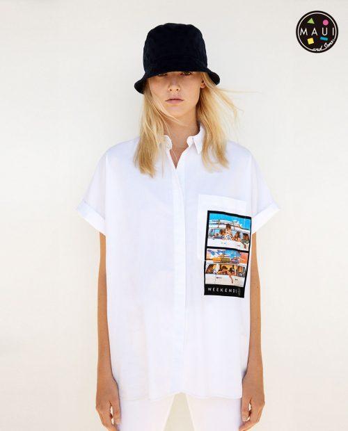 oversized-λευκό πουκάμισο- με -σχέδιο στην τσέπη 29,95 ΖΑΡΑ 2017