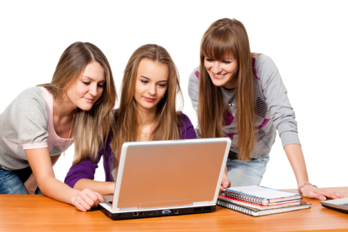 girl students with notebook